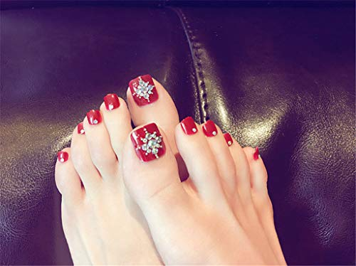 Fashion 24 Pcs/Set 3D Silver Chain Five-Pointed Star Summer Toes Finished Fake Nails,Full Nail Tips,Girl Toe Art Tool Bride 1
