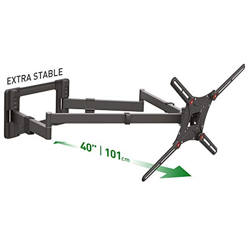 Barkan - Supporto da parete lungo 40  per TV da 13-80 pollici, Dual Arm Full Motion Articulating – 4 Movement Flat Curved Screen Bracket, fino a 50 kg, extra stabile, per LED OLED LCD