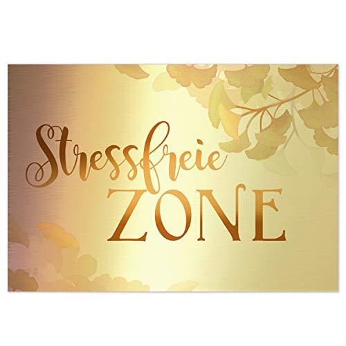 Logbuch-Verlag Schild STRESSFREIE Zone 31 x 21 cm Gold Silber mit Ginkgo - Wandbild Türschild Deko Sauna Spa Wellnessbereich Garten