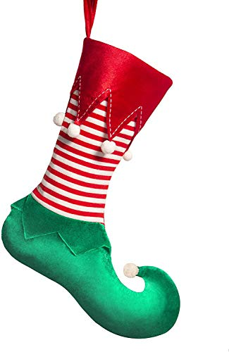TangJing Lovely Elf Christmas Stockings with Pom Pom Balls Red Cuff and Knit Stripe, Classic Elf Themes Decor and Ideas, 21 inch Xmas Santa Helpers Supplies and Gifts for Holiday Party and Decoration