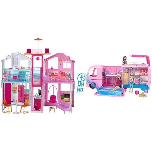 Barbie DLY32 - 3 Etagen Stadthaus Puppenhaus mit 4 Zimmer, Aufzug und Zubehör, ca. 75 cm hoch &  FBR34 - Super Abenteuer Camper, Puppen Camping Wohnwagen mit Zubehör, Mädchen Spielzeug ab 3 Jahren