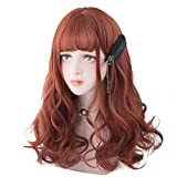 Long Wavy Wig Bangs - Natural Synthetic Hair Lolita Wig with Wig Cap For Women Cosplay and Daily Wear (Dark Red)