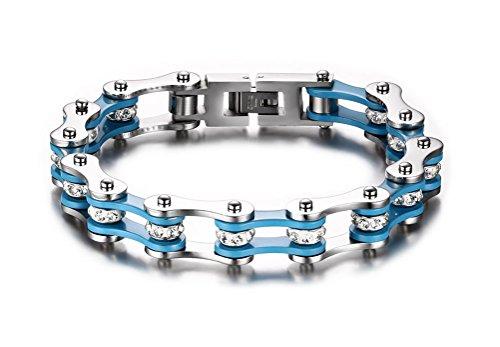 Weißblaues Herren-Armband aus massivem Edelstahl mit Kristall-Steinen im Fahrradketten-Stil von Juwelier Vnox