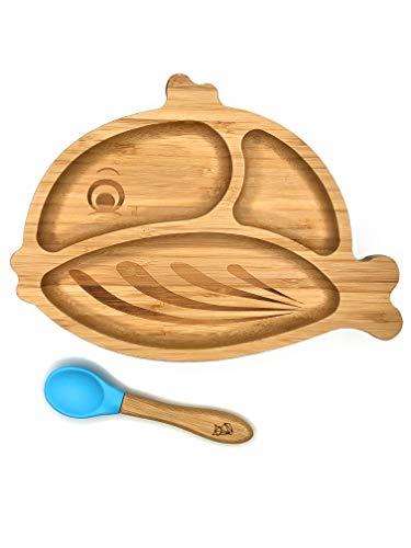 **NEU** KLEINER FUCHS präsentiert | Babyteller aus Bambus mit rutschfestem Saugnapf und passendem Baby-Löffel | Hochwertiges Babygeschirr Set in einer stylischen Geschenk Box (Fisch)