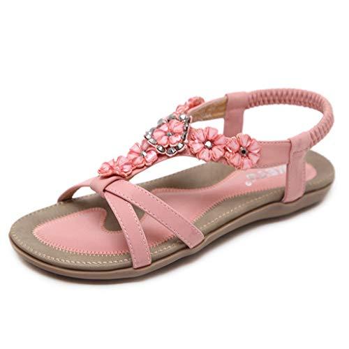 WggWy Sandalias Dulces De Verano, Zapatos Planos De Talla Grande para Mujer Sandalias De Cristal Zapatos De Playa con Flores De Moda Cómodo Ligero Y Transpirable,Rosado,41