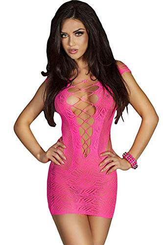 SxyBox Lingerie Dessous Frauen Mesh Sexy Hollow Out Negligee Babydoll Wäsche Netzs Flexibel Free Size Mini Silm Kleid