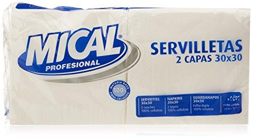 Mical Servilletas, Color Blanco, 2 Capas, 30 x 30 cm - Pack de 2 x 100 Unidades - Total: 200 Unidades