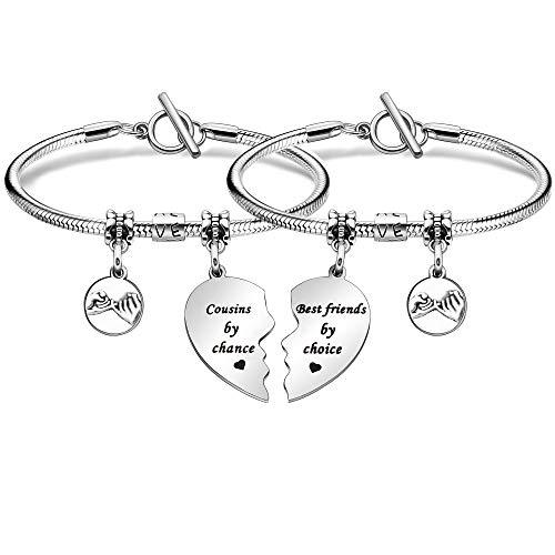 Cousins Jewellery bracelet for Cousins 2pcs Split Heart Bracelet for Women...