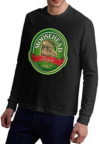 Whgdeftysd Moosehead Bier Logo Katoen Lange Mouw Zwart Shirt Blouse voor Heren