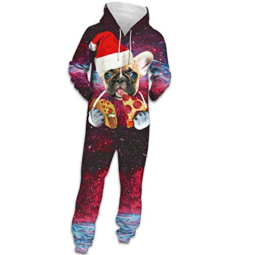 XYSQWZ Neuer Unisex Hoodie Galaxy Pizza Hundedruck Kapuzenreißverschluss Jumpsuit Lässige Weihnachtskostüm Pyjamas