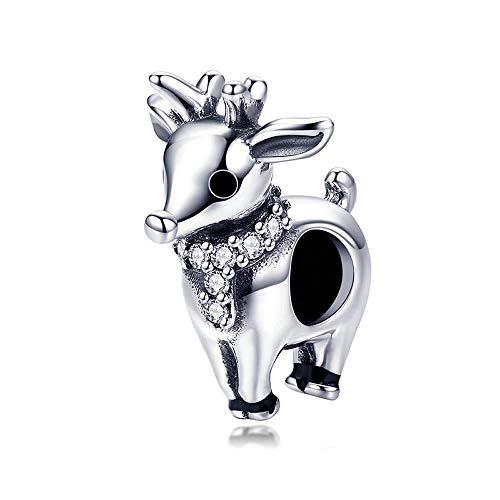 Rendier Echt 925 Sterling Zilver Lucky Kerst Elk Bedels Dier Kralen Fit Charm Armbanden Kettingen Sieraden Gift