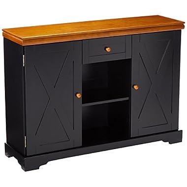 Kings Brand Furniture C1249 Buffet Cabinet, Black/Walnut