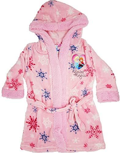 Die Eiskönigin Disney Bademantel mit Kapuze für Mädchen aus kuschelig warmen und weichen Coral Fleece Gr. 98-140 (Größe 128)