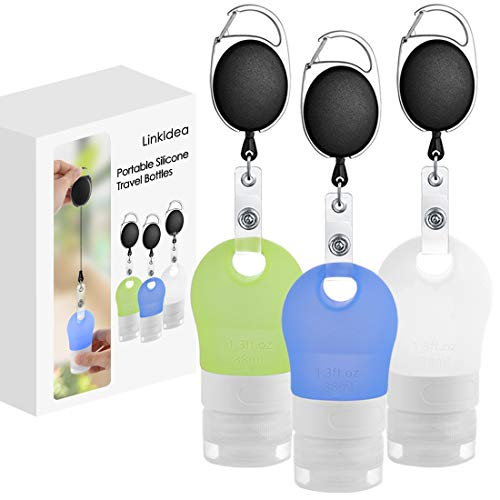 LinkIdea Portable Silicone Travel Bottles Set, Hand Sanitizer Travel Sized Container, Refillable...
