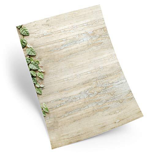 Logbuch-Verlag - Papel para carta, 25 hojas, DIN A4, imitación de madera, diseño vintage, color marrón claro y gris natural
