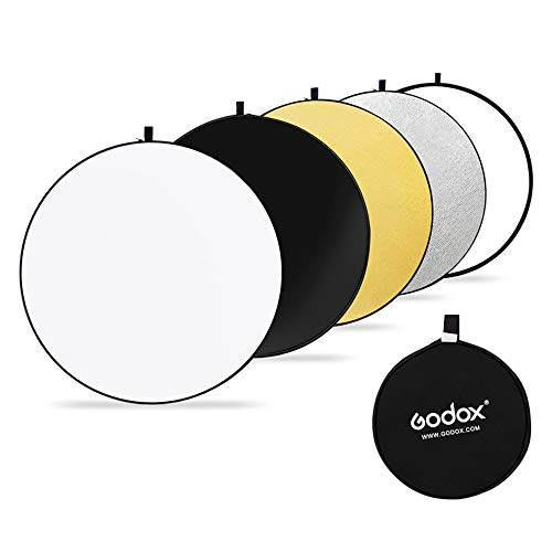 Godox 5 en 1 Plegable Ronda Reflector Difusor de Flash de Estudio de Discos para Varias Fotos RFT05-110cm (RFT05-110cm)