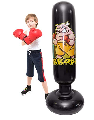 Punching Bag for Kids – Inflatable Toy for Boys & Girls to Practice Boxing, Karate, Taekwondo & Relieve Pent Up Energy - Gift for Active Child - Quick Bounce Back - Free Standing - Weebles