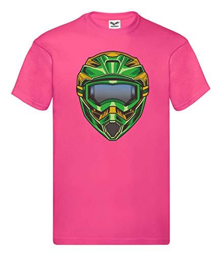 Camiseta unisex para niños y niñas con casco de motocross extremo. fucsia 140
