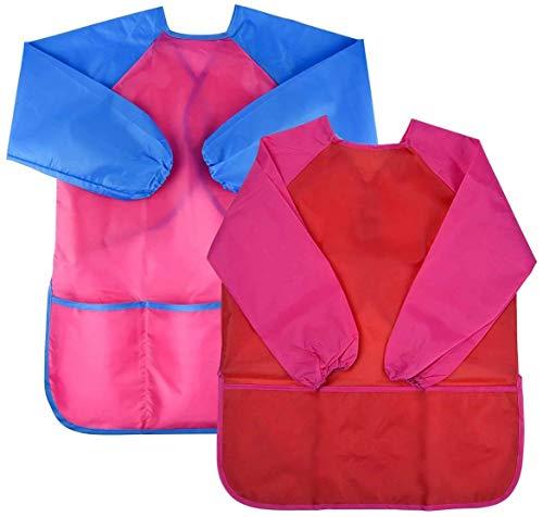 Natuce 2 Pezzi Grembiule da Pittura Bambini, Grembiulino Impermeabile Scuola Maniche Lunghe con 3 Tasche per Bambini 3-7 Anni , Grembiule da Gioco -- Pittura, Cucina, Scuola, casa (Rosa + Rosso)