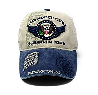 Air Force One Presidential Crew Hat Washington DC Hat Baseball Cap (Khaki and Denim)