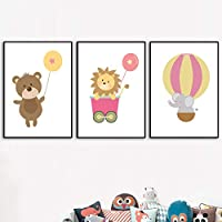 北欧のポスターと版画漫画クマライオン象バルーン壁アートキャンバス絵画壁の写真男の子女の子部屋の装飾-(50X70cm)X3フレームなし