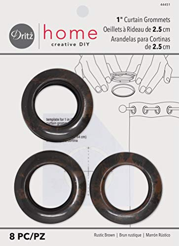 Price comparison product image Dritz Home 44451 Round Curtain Grommets,  1-Inch,  Rustic Brown (8-Piece)
