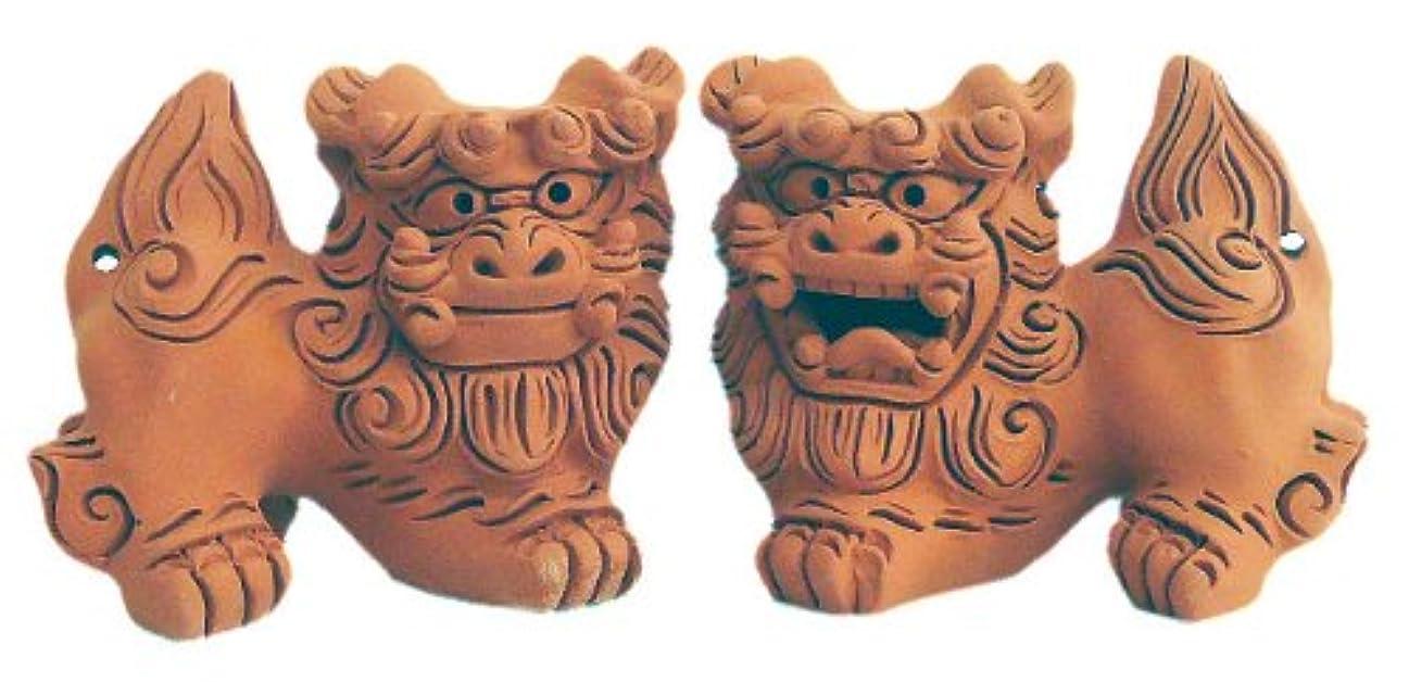咲く酒交じる朝日陶器 オブジェ 赤 - 手造りシーサー 小横伏 素焼 雌雄セット