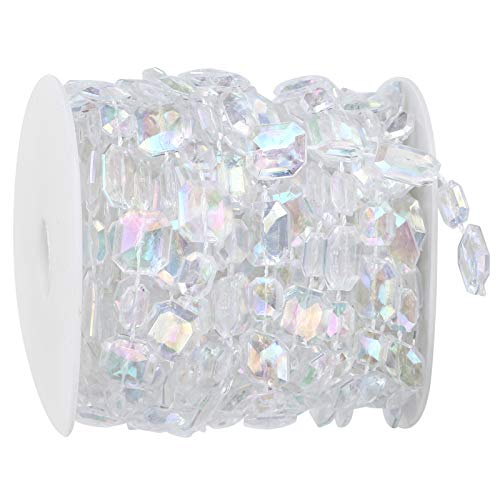 WXP 10m Synthetic Beads Garland Rectangle Iridescent Decoration String For Wedding Festival Wrapping