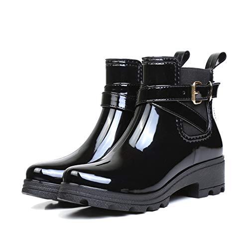 GDSSX De Las Mujeres Zapatos Corto Botas de Lluvia de Moda y Desnudo Botas de Lluvia elástico con Hebilla Diseño Boca Outdoor (Color : Black, Size : 39)