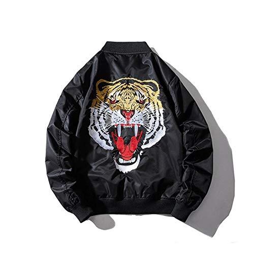 Qier Bomberjacke Herren Pilot Baseball Mantel, Tiger Bestickt Schwarz Retro Outwear, Casual Harajuku Hip Hop Streetwear Frühling Herbst Jugend Paar Frauen, XL
