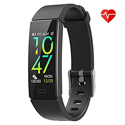 ZURURU Fitness Tracker Watch with Heart Rate Monitor, IP68 Waterproof Activity Tracker with 10 Sport Modes Pedometer Calorie Step Counter for Fitbit Women Men (Black)