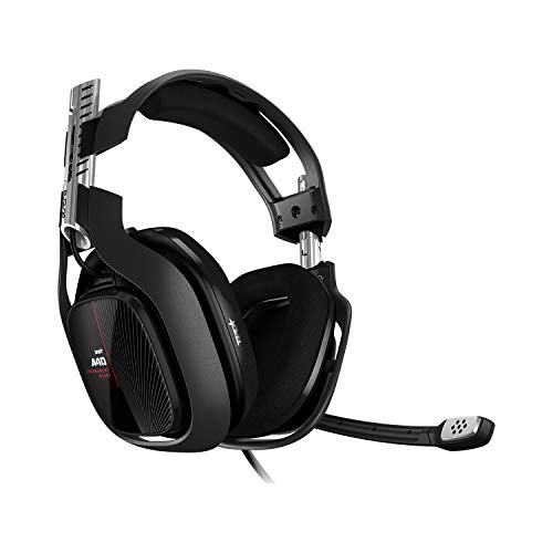 ASTRO Gaming A40 TR Auriculares alámbricos, 4ta gen., ASTRO Audio V2, Dolby ATMOS, clavija 3.5mm, micrófono intercambiable, para Xbox Series X|S, Xbox One, PS4, PC, Mac, Switch, móvil - Negro/Rojo