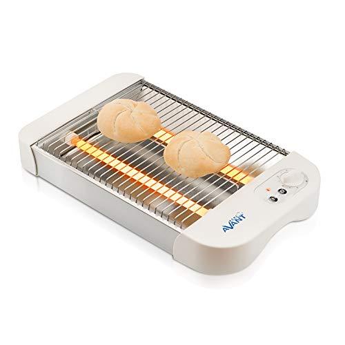 AVANT - Tostador Horizontal Plano 600W. Termostato con indicador LED. para Todo Tipo de Pan. Acero Inoxidable y con Bandeja recogemigas. Blanco.