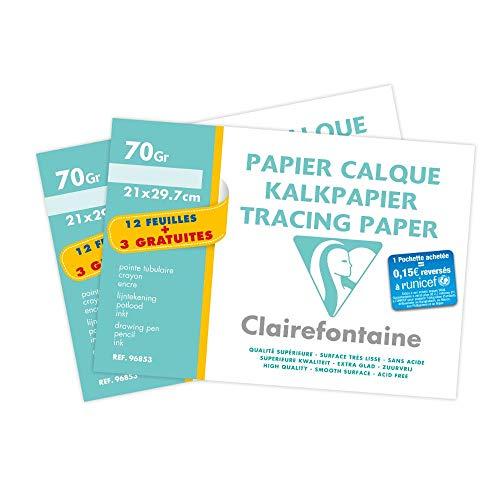 Clairefontaine 196853AMZC - Un lot de 2 pochettes de Calque supérieur 15 feuilles (12 + 3 gratuites) 21x29,7 cm 70/75g