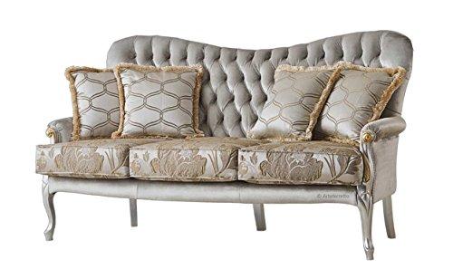 Sofa 3 Sitzplätze, Struktur aus Holz mit Golden Details, Rücklehne und Sitz gepolstert und tapeziert, Sitzkissen, klassische elegante Einrichtung