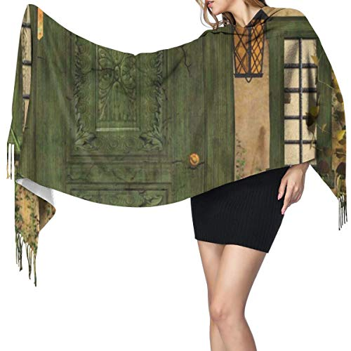 Womens Warm Long Shawl Wraps Large Scarves,Cottage Door Overgrown Bushes Grass Tree Garden Brick Fairy Tale Countryside Knit Cashmere Feel Scarf for Christmas