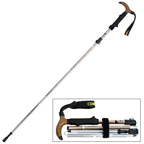 Everyday Home Alliage d'aluminium Trekking Polonais Tungstène Steel Tip Pliable Léger Randonnée Stick*1 107-125cm (Couleur : Gold T)