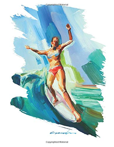 Longboarder Surfer Girl Hang Ten College Ruled Blank Notebook Surf Art  Original: Artistic Surf Girl Notebook for Ideas, Gift and Present for the