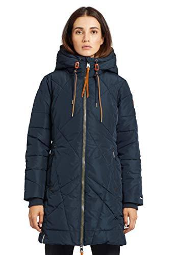 khujo Damen Jacke Daniella mit Kapuze warm lang Steppjacke Steppmantel Winterjacke