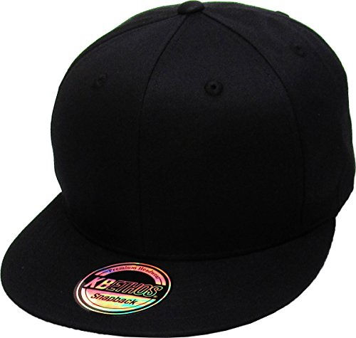 KNW-1467 BLK Cotton Snapback Solid Blank Cap Baseball Hat Flat Brim