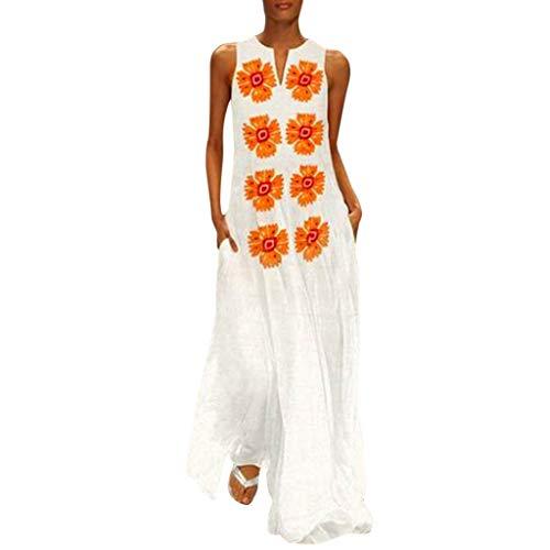 Read About Women Elegant Sleeveless Dresses, EDTO Women's Casual Sleeveless V-Neck Flower Print Maxi...