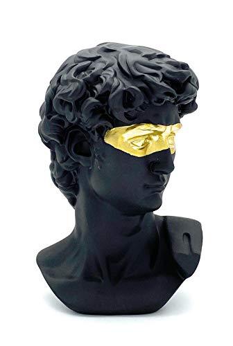 Perfekto24 Deko-Figur David – Moderne Skulptur in schwarz (15cmx10cm) – edle Dekoration ideal für Glas-Vitrine, Regal, Kommode, Deco-Tisch & Fensterbank