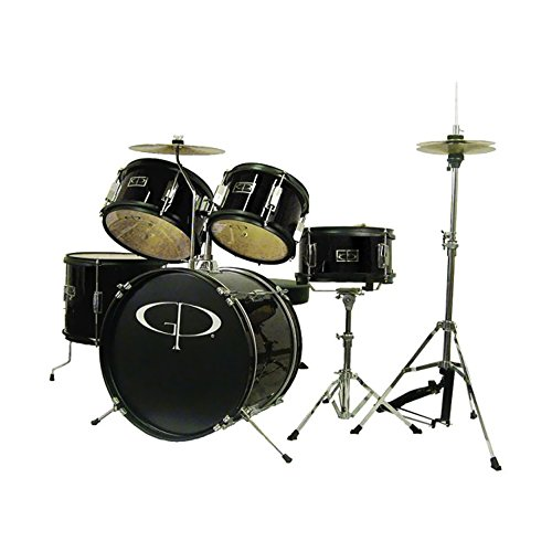 GP Percussion GP55BK 5-Piece Junior Drum Set with Cymbals and Throne in Metallic Black