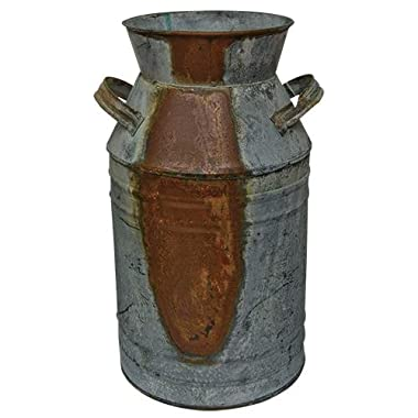 Milk Can - 13  Galvanized Finish - Country Rustic Primitive Jug Vase