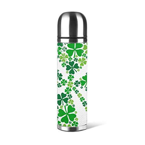 Art Fan-Design - Botella de agua de acero inoxidable con diseño de trébol de la suerte para el día de San Patricio, aislado al vacío, piel a prueba de fugas, doble pared, contenedor de viaje, termo de 500 ml