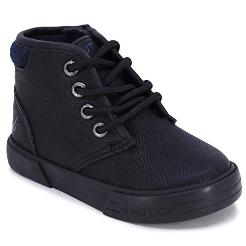 Nautica Kids Dress Bootie Chukka Boot with Lace Up for Boys Toddler Little Kids-Breakwater-Black Tumbled-7