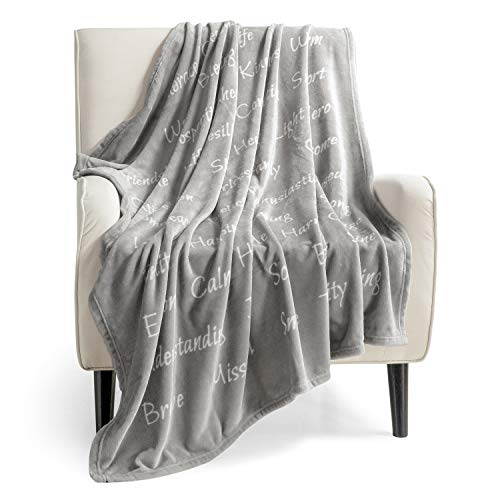 Bedsure Healing Thoughts Blanket - Super Soft Hope Prayer Warm Hug Throw Blanket Sympathy Thoughtful Comfort Get Well Recovery Gifts for Women Men Breast Cancer Patient (Grey)