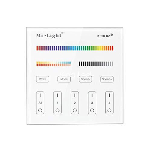 Mi-Light Controlador de pared táctil multizona, serie Milight, modelo B4, regulador para tiras y focos multicolor RGBW y con coloración de temperatura regulable CCT, 4 zonas de control