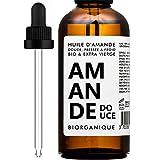 Huile d'Amande Douce 100% Bio, Pure et Naturelle et Pressée à froid - 100 ml - Soin pour Corps, Peau, Anti-âge, Visage, Massage