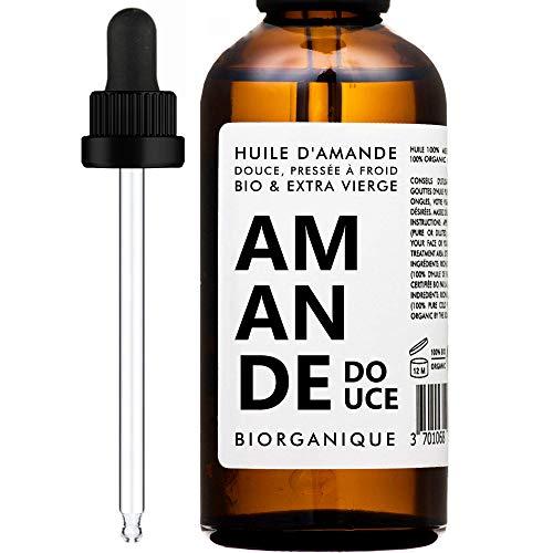 Huile d'Amande Douce 100% Bio, Pure et Naturelle et Pressée à froid - 100 ml - Soin pour Corps, Peau, Anti-âge,...
